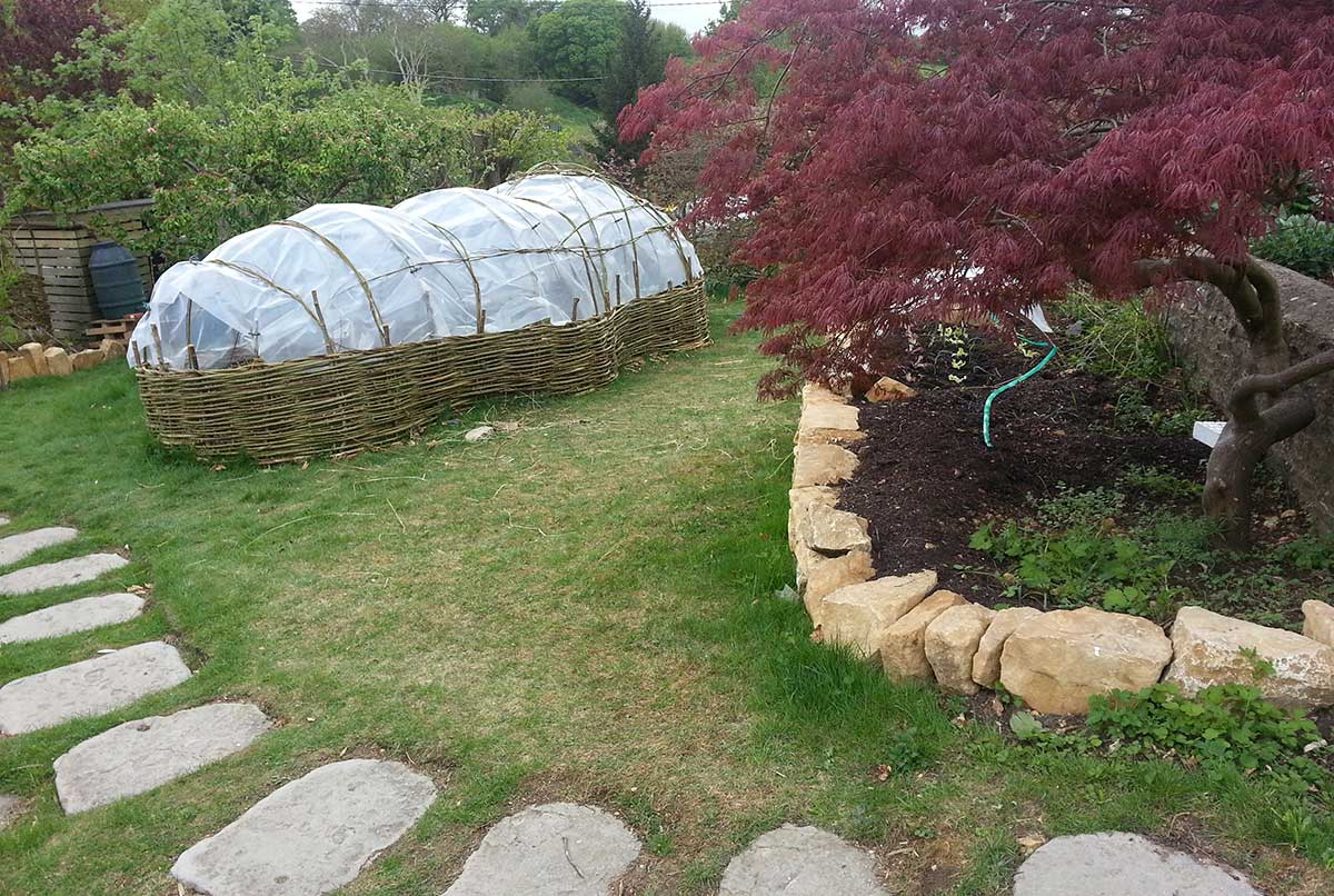 Willow poly-pod and cotswold stone wall - Ayurvedic Permaculture Garden Design, Finstock, Oxfordshire - Gaiaveda Gardens