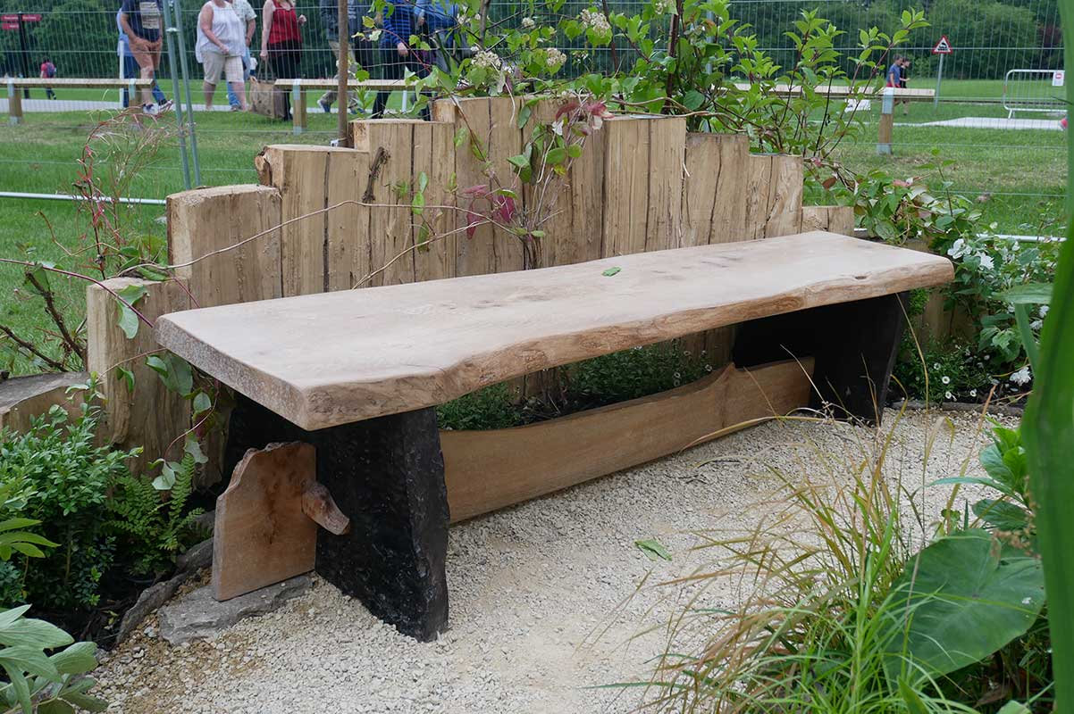 Hand Made Elm Bench - Gaiaveda Gardens-Blenheim Flower Show